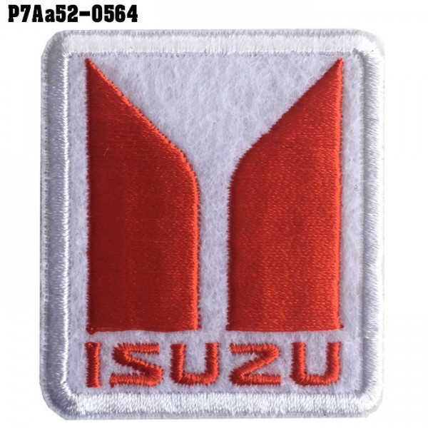 Shirt Iron on the shirt, embroidered with ISUZU car logo / Size 5.3 * 4.7cm # embroidered white, red, white background Handicraft, fine embroidery, sharp lines, model P7Aa52-0564.