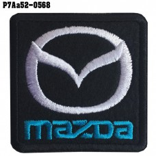 Shirt Iron on the shirt, embroidered with the car logo MAZDA / Size 5 * 5cm # embroidered white, black, blue, black background High-quality, detailed embroidery, model P7Aa52-0568.