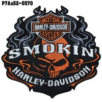 Shirt Iron for attaching to the shirt, embroidered with HARLEY SMOKIN / Size 10 * 9cm # embroidered white, orange, black, gray, black background. Fine embroidery, good quality, model P7Aa52-0570
