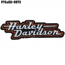 Shirt Iron on the shirt, embroidered with Harley logo, letters, orange, white / Size 3 * 10cm # embroidered on white, orange, black background, high qualified embroidery, model P7Aa52-0573.