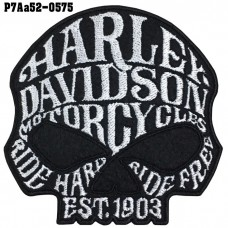 Shirt Iron on patch, embroidered with Harley logo, skull head TATAMI / Size 8 * 8cm #, embroidered white on black. High-quality, detailed embroidery, model P7Aa52-0575.