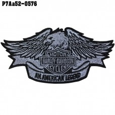 Shirt Iron on patch embroidered with logo Harley Eagle AN AMERICAN LEGEND / Size 5 * 5cm # embroidered gray-black, black background, high-quality embroidery, model P7Aa52-0576.