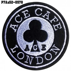 Shirt Iron on the shirt, embroidered with the logo of club ACE CAFE LONDON / Size 7 * 7cm # White embroidery, black background, high quality embroidery model P7Aa52-0578.
