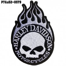 Shirt Iron on the shirt, embroidered with Harley logo, skull head / Size 10 * 7cm # embroidered white on black, high quality embroidery model P7Aa52-0579