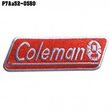 Shirt Iron on the shirt, embroidered with COLEMAN logo / Size 8 * 2.5cm # embroidered white, red, white background High-quality, detailed embroidery, model P7Aa52-0580.