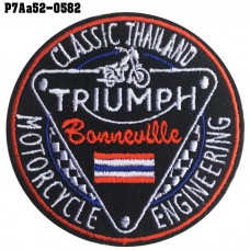 Shirt Iron for attaching the shirt, embroidered with TRIUMPH CLASSIC THAILAND / Size 7 * 7cm # embroidered white, red, blue, black on black background. High quality, detailed embroidery, model P7Aa52-0582.