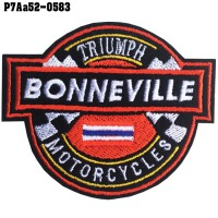 Shirt Iron on the shirt, embroidered with TRIUMPH BONNEVILLE / Size 7 * 6cm # embroidered white, red, blue, black, yellow, black background. High-quality, detailed embroidery, model P7Aa52-0583.