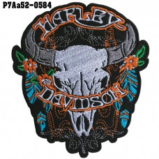 Shirt Iron on the shirt, embroidered with HARLEY, skull and buffalo / Size 10 * 9cm # embroidered gray, black, white, blue, orange, green, black background. High quality, detailed embroidery, model P7Aa52-0584.