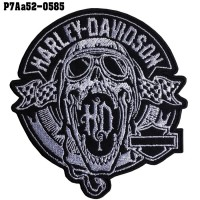 Shirt Iron on the shirt, embroidered with HARLEY skull open mouth / Size 10 * 9cm # Embroidery black, white, black background High-quality, detailed embroidery, model P7Aa52-0585.
