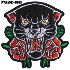 shirt arm ironing board cartoon glue Black panther pattern with roses /Size 8*8cm #embroider black, yellow, red, green, white, black background High quality detailed embroidery, model P7Aa52-0613