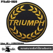 Triumph yellow circle patch #black embroidery, white on black fabric/SIZE 6.7*3cm, high quality detailed embroidery, model P7Aa52-0620