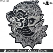 Hanuman black and white patch, beautiful and chic Thai pattern. Black embroidered with silver tinsel on black poly back fabric /Size 25*20cm, detail work, model P7Aa52-0626