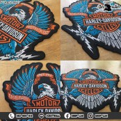 Embroidered HARLEY blue eagle patch #Embroidered black, blue, orange, white, on black leather fabric /Size 21*20cm, good quality detailed No.P7Aa52-0627