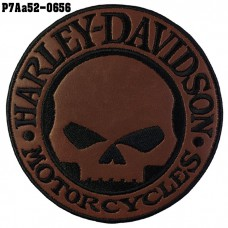 Harley-Davidson skull Patch, black embroidered on brown leather base /Size 10*10cm, cool detailed embroidery, model P7Aa52-0656
