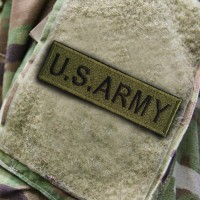 U.S.ARMY Embroidery Arm / Rectangle 10 * 3cm # Green-Black Embroidery with Velcro Sleeve No.P7Aa60-0002