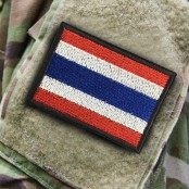 Embroidery Arm Thai Flag Square / Size 7 * 5cm # Red, white, blue, black, black decorated with Velcro No.P7Aa60-0004