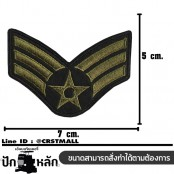 Embroidery Star Medal Wing Badge with 3 Combat Wings / Size 7 * 5cm # Green-Black Embroidered with Velcro Sleeve No.P7Aa60-0005