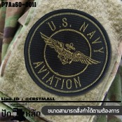 Arm embroidered with hook-and-loop pattern, embroidered U.S. NAVY AVIATION circle / Size 7 * 7cm #, black green embroidery, black background model P7Aa60-0011