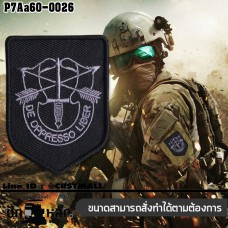 Hook-and-loop armband, embroidered patch, badge, logo, military logo, hook-and-loop, Green Berets LOGO / Size 7 * 5cm, gray-black embroidery, poly-black background. Good quality work, sharp lines, model P7Aa60-0026