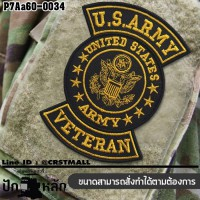 Velcro embroidered patch US ARMY VETERAN #embroidered yellow and black on black poly cloth/Size 7*5cm, good quality No. P7Aa60-0034