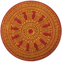 """Embroidered pattern """"Dharma Chakra size 8x8 cm, yellow embroidery, red ground Stick to the shirt attached to the military Stick to fashion products DIY work clothes Embroidery No.F3Aa51-0017"""