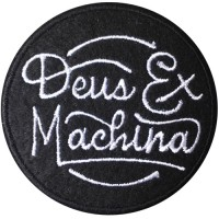 """""""DEUS MACHINE"""" embroidery arm size 6 x 6 cm. Black and white embroidery Stick to the shirt attached to the military Stick to fashion products DIY work clothes Embroidery No.F3Aa51-0005"""