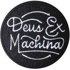 """DEUS MACHINE"" embroidery arm size 6 x 6 cm. Black and white embroidery Stick to the shirt attached to the military Stick to fashion products DIY work clothes Embroidery No.F3Aa51-0005"