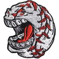 """อาร์มเบสบอลโกรธ ติดเสื้อติดหมวกทหาร ติดสินค้าแฟชั่น งานDIYเสื้อผ้า  ปักเบสบอลโกรธ"""" สีเหลืี่ยม /Size 6x6 cm งานปักระเอียด No. F3Aa51-0008"""