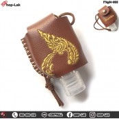Leather holster for portable size, sew on 1 side, gold embroidery, Thai pattern Easy to apply. Available in 2 colors and 4 patterns. No.F7Ag24-0009