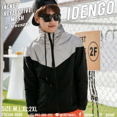 "Long-sleeved jacket, reflective shade fabric for hooded color ""Black silver, the perfect fit. No. F5Cs04-0680"