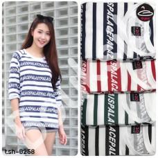 Long Sleeve T-Shirt Diagonal striped alphabet  4 colors No.tsh-0262