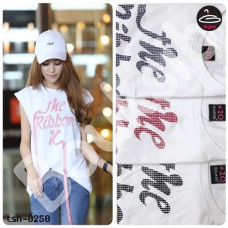 """Sleeveless T-shirt printed  """"The Ribbon """"  3 colors No.tsh-0250"""