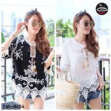 Korean lace shirt White lace shirt Korean Beaded Knitting Needle No.tsh-0254