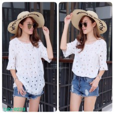 Korean lace shirt White fashion lace blouse woven pattern No.F1Cs50-1190