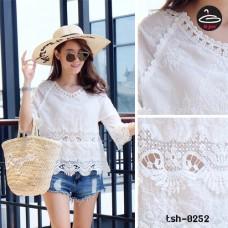 Korean lace shirt White Lace Long Sleeve Shirt No.tsh-0252
