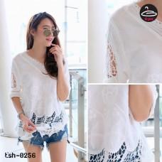 White lace shirt Korean Rose Weave No.tsh-0256