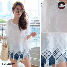White lace shirt Korean Lace Long Tassel No.tsh-0257