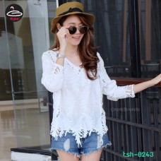 White fashion lace blouse Lace shirt with white short sleeves No.tsh-0243