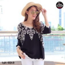 Black Korean Lace Blouse Woven vintage soft texture NO.T-0249
