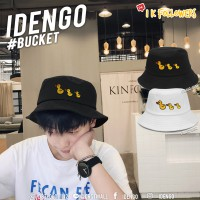 Bucket hat embroidered with 3 yellow duck, cute pattern, clear No.F7Ah32-0091