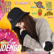 Bucket Hat Velvet Fabric Concept Good Vibes Good Feeling , Bucket Hat Black Hat  4 Pattern  No.F7Ah32-0026