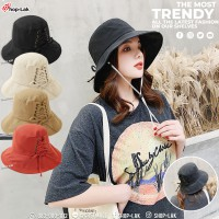 Bucket hat, COTTON fabric, rope, decorated with cute pattern Items that are popular with girls