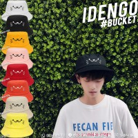 Bucket hat, embroidered face, cat, cute hat, cute pattern, No. F5Ah32-0104