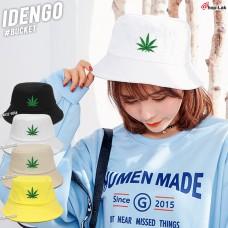 Bucket hat, hemp leaf, green leaf, beautiful hat, No. F7Ah32-0084