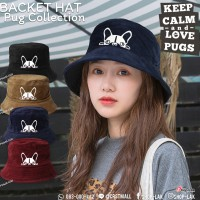 BUCKET HAT Embroidered PUG PUG Hat BUCKET HAT Soft Headgear  NO.F7AH32-0119
