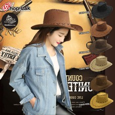Cowboy hat with chamois leather strap, COWBOY hat, leather There are 6 colors.