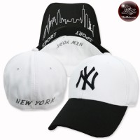 NY / SIZE 56-58 embroidered white cap The back is full. No.F5Ah15-0408