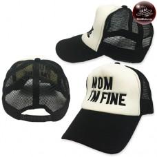 Mesh cap Sponge nipple mesh mom i am fine black wings black mesh white Behind the SNAPBACK side. No.F5Ah15-0655