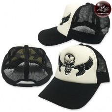 Sponge mesh cap, winged skull cap Black wings black mesh black Behind the SNAPBACK side. No.F5Ah15-0502