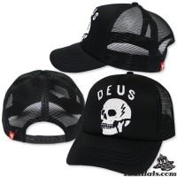 DEUS CAP Mesh Hooded cap, Black Skull cap, Black sponge No.F1Ah15-0327